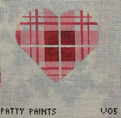 Patty Paints V05 Heart Maroon and Pink Plaid