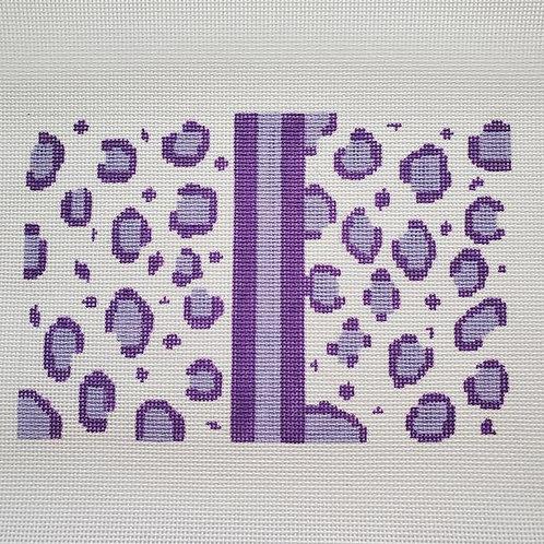 Silver Stitch  Leopard Clutch Purple