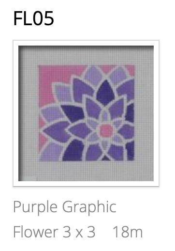 Pepperberry FL05 Purple Graphic Flower, Square