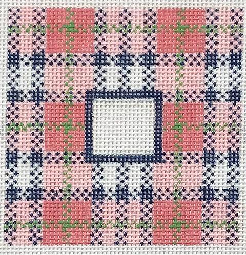 """Lauren Bloch LT-01 Preppy Plaid 3x3"""" Square Insert - w/ Letter"""