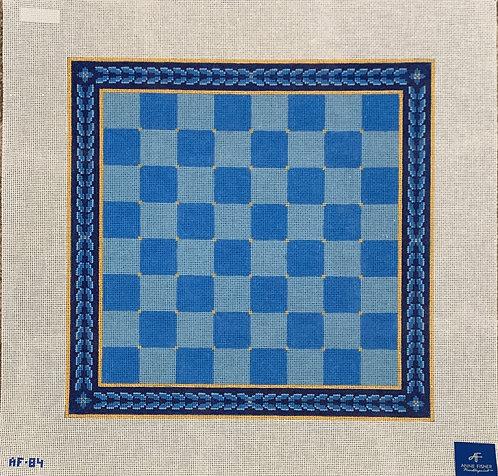 Anne Fisher AF84 Blue Medallion Checkerboard