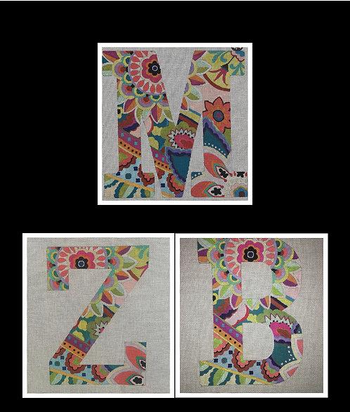 "6"" High Vibrant Floral Letters - 18 mesh"