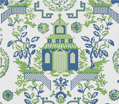 Needlepoint by Laura Chinoiserie Pillow