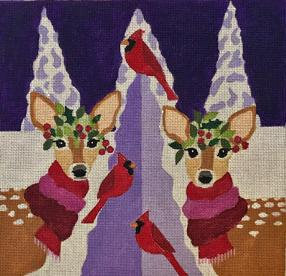 Melissa Prince H-261 Two Fawns and Cardinals