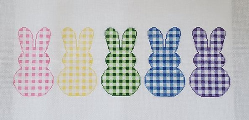 Silver Stitch Needlepoint 5 Gingham Bunnies
