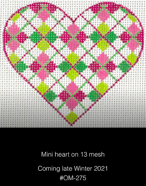 Kate Dickerson OM-275 Argyle Pink and Greens Mini Heart 13 mesh