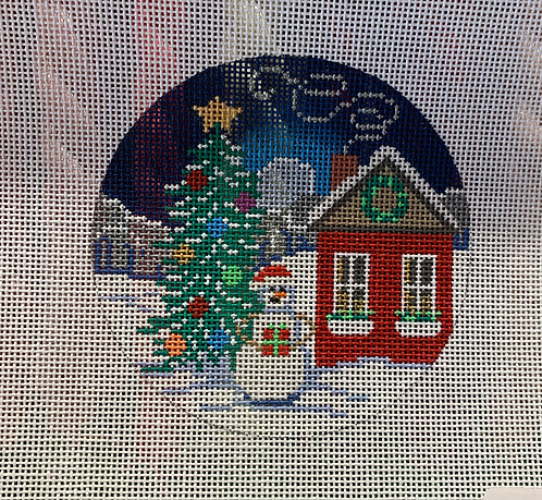 "Alice Peterson AP x449 Snowman w/ Tree 4"" Round 18 mesh"