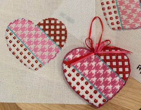 AT HE1001 Woven/Houndstooth/Dot Heart - Large