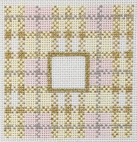 """Lauren Bloch LT-11 Gold Plaid 3x3"""" Square Insert - w/ Letter"""