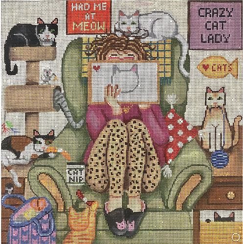 Gayla Elliott GEP 325 Stitching Girl Cat Lady