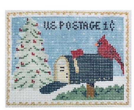Plum Stitchery Postage Stamp Cardinal