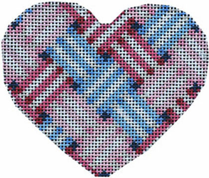 AT HE854B Woven Ribbon Heart Blue