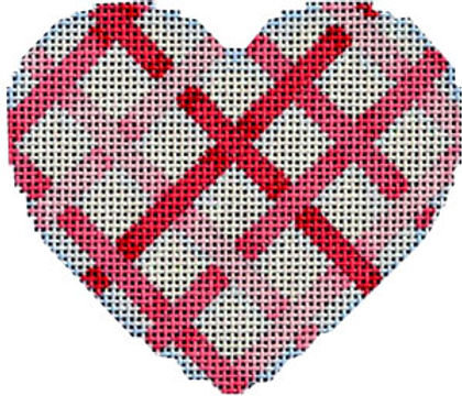 AT HE842 Pink Diagonal Weave Heart