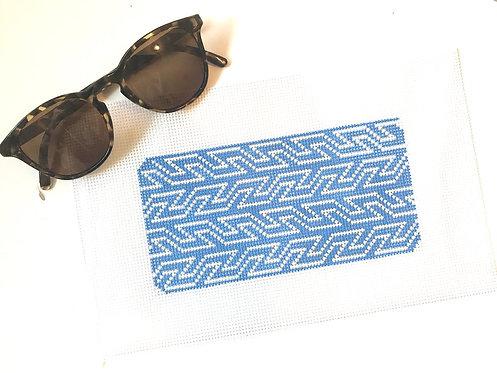 Hello Tess PP57 Blue & White Geometric Eyeglass Case