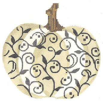 Kelly Clark KCN1563 Ivory and Charcoal Scroll Pumpkin