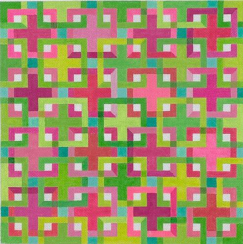 Kate Dickerson PL-468 Interlocking squares Pinks Greens