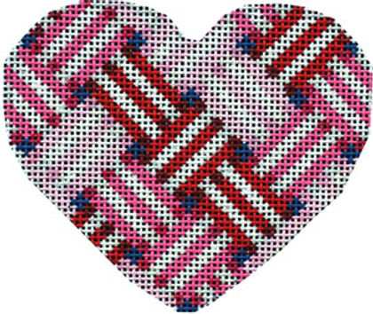 AT HE854R Woven Ribbon Heart Red