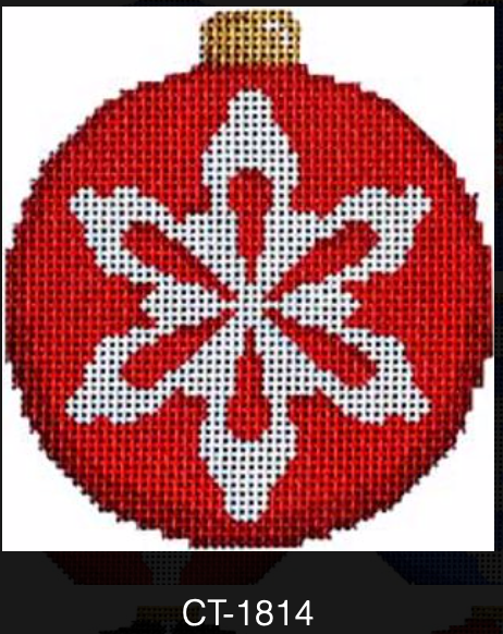 AT CT-1814 Snowflake on Red Ball Ornament
