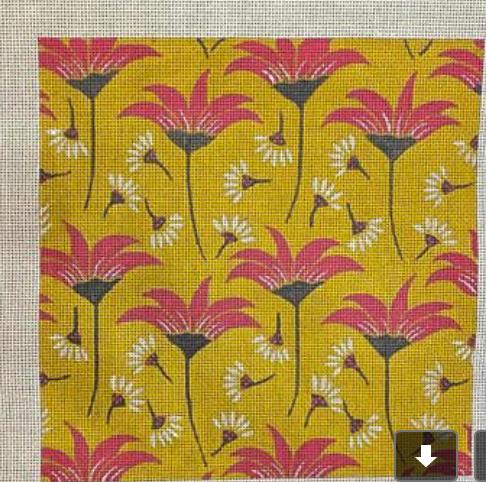 Lizzie Clark 13 mesh Flowers on Yellow Background