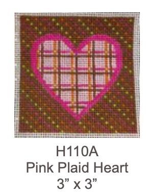 Eye Candy H110A Pink Plaid Heart Ornament