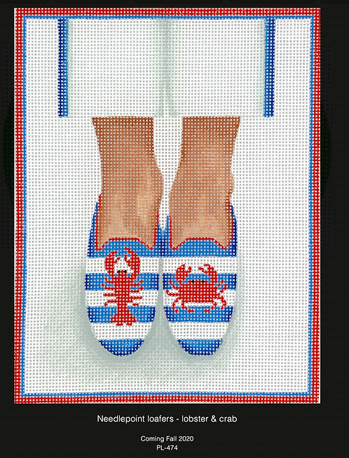 Kate Dickerson PL-474 Needlepoint Lobster/Crab Loafers