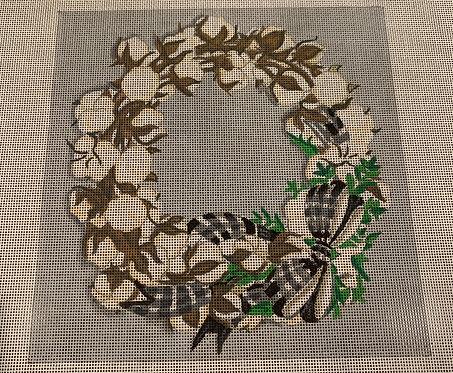 Nichole Tamarin Cotton Boll Wreath NTPL07
