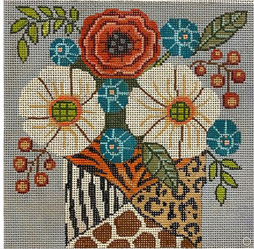 Gayla Elliott GEP 327 Flowers in Animal Print Vase
