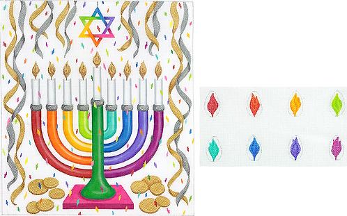 MEN-01 Rainbow Confetti Menorah with Flames