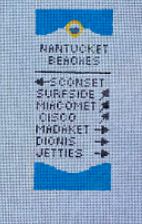 Poppys Needlepoint Nantucket Beach Sign