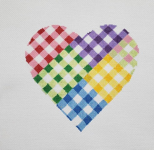 Silver Stitch  Gingham Patchwork Heart