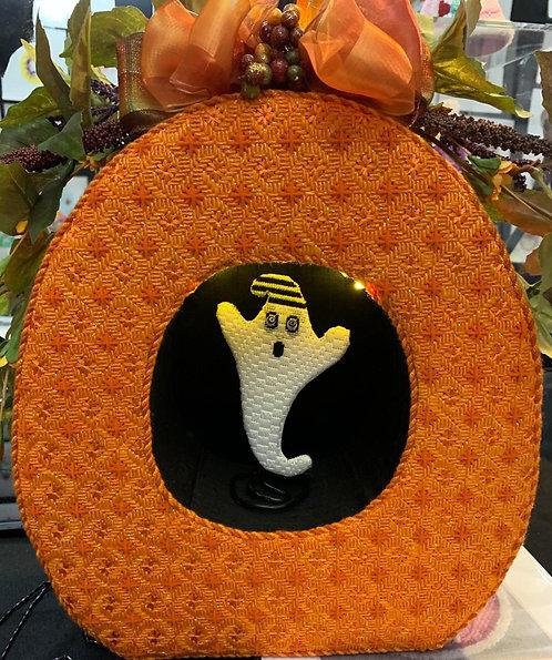 Brenda Stofft Pumpkin Diorama, Ghost, Stitch Guide & Threads