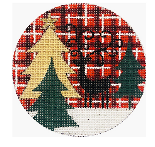 x327 Reindeer and Trees on Plaid Ornament