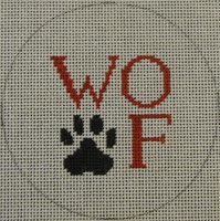 Kristine Kingston 0111 Woof and Paw Print - Black & Red