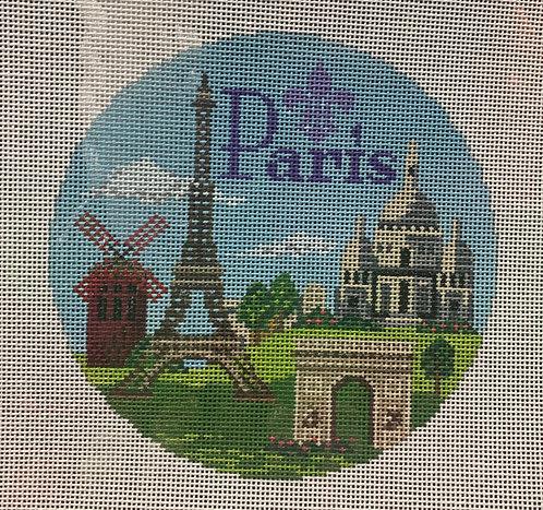 Needlepaint Handpainted Paris Ornament