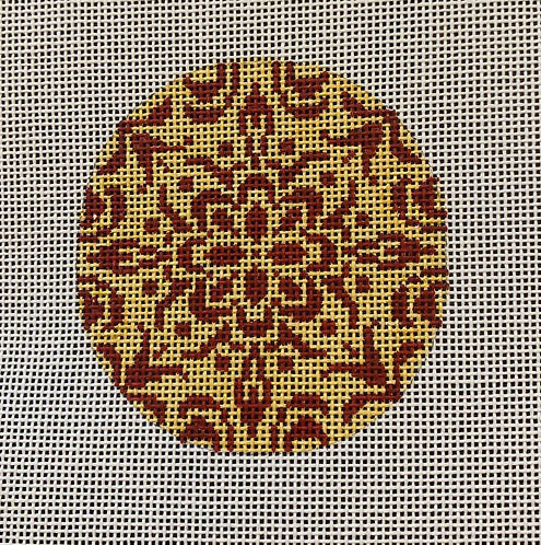 Heidi 96 Gold and Brown Doily Round
