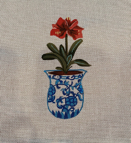 The Collection SB 1010 Red Flower in Blue and White