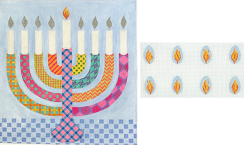 MEN-02 Bright Funky Patterned Menorah with Flames