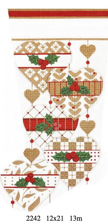 Melissa Shirley 2242 Golden White Heart Stocking 13 mesh