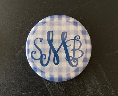 Blue Gingham with Navy Letters