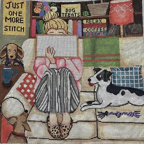 Gayla Elliott GEP309  Stitching Girl with Dogs