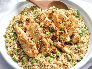 Pollo picante con quinoa y hierbas