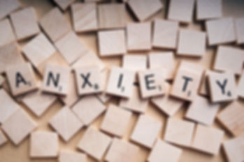 Anxiety spelled with scrabble letters