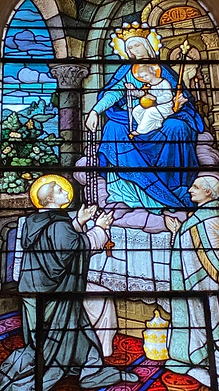 St Dominic receiving the Rosary from the Blessed Virgin Mary