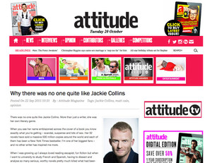 Matt Cain pays tribute to Jackie Collins in Attitude