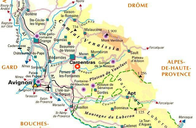 Map of the region with Mas Saint-Gens location