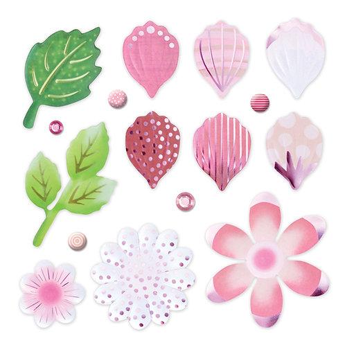 Botanical Burst Pink Petals and Leaves Foiled Embellishments