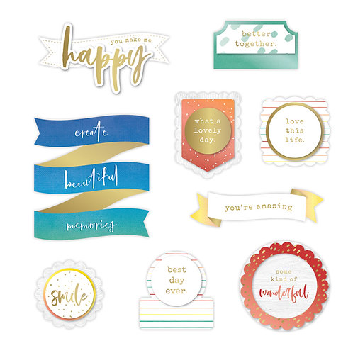Rainbow Rush Layered Title Border Embellishments
