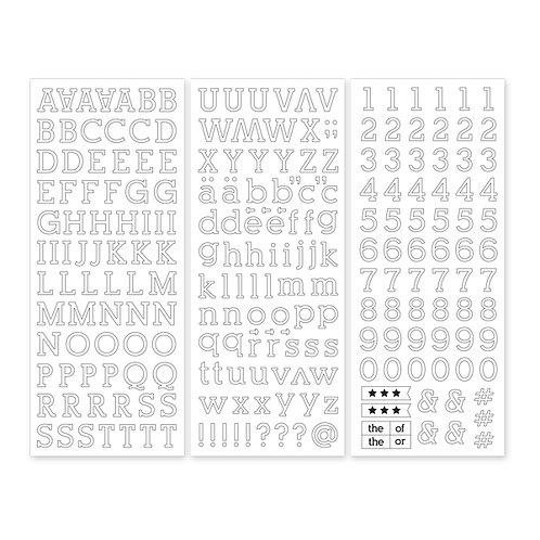 White Serif ABC/123 Stickers (3/pk)