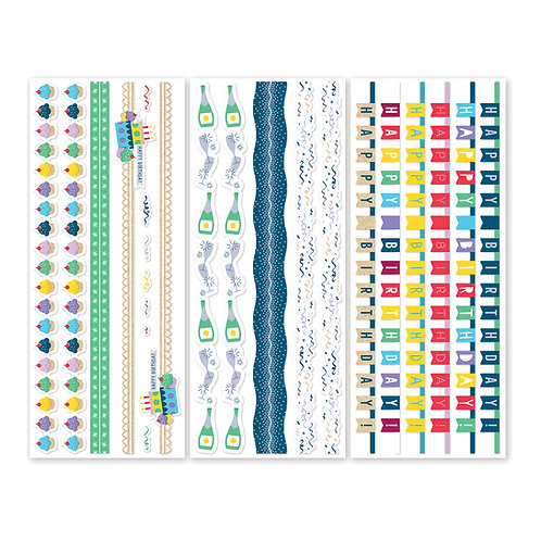 Party Time Border Stickers (3/pk) - Pre-Order