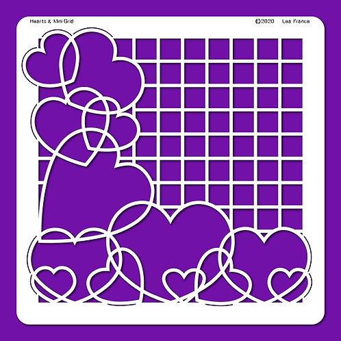 Hearts and Mini Grid Stencil